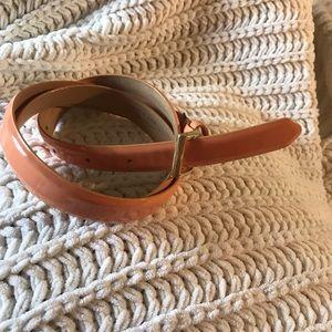J. Crew patent leather peach skinny belt Sz. S.